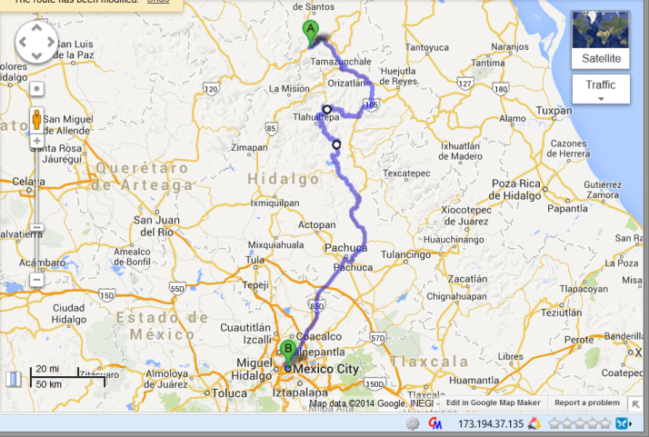Day 9 Drive from hell - 14 hours t drive less than 200 miles from Xilitla to Mexico City