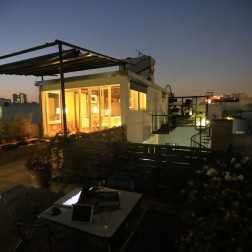 Our Eco Pad Rooftop at night