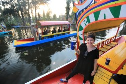 Mariachi's float by on canals near Mexico city