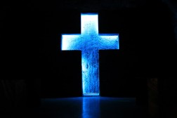 LED cross cut out of stone