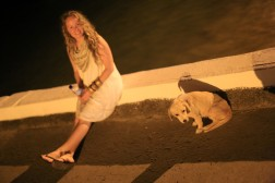 Katie and Scraps hanging on the dock