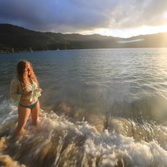 Katie, Waves, Sunset