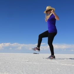 Katie taking charge of things on the Salar in Bolivia