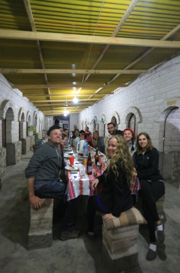 Dinner at the salt hostel with new friends