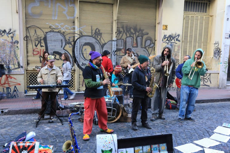 While the graffiti is mediocre, the street music is NOT