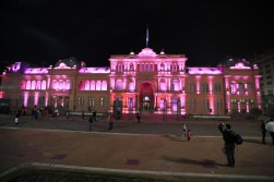"The ""pink house"" lit up at night"