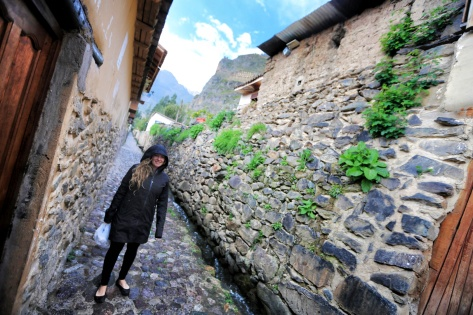 The streets of Ollantaytambo, Peru are still made of stone.