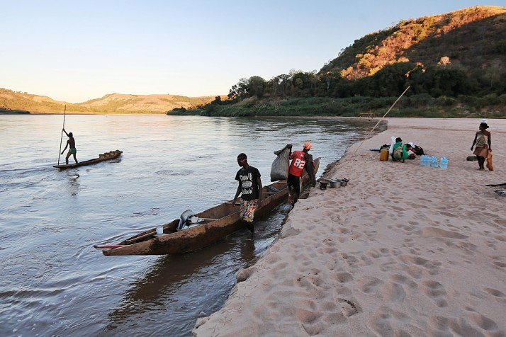locals using the canoes