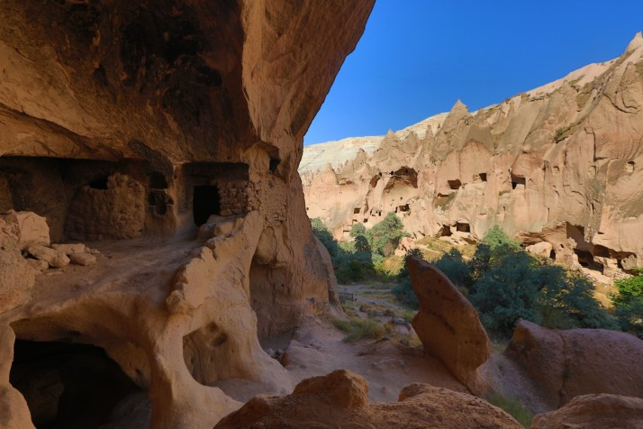 Inside one of the cities in the caves of Cappadocia