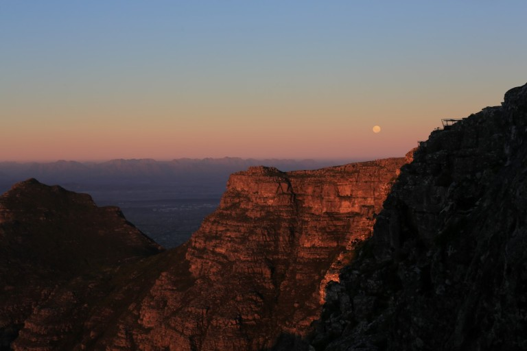 The moon rising over Cape Town