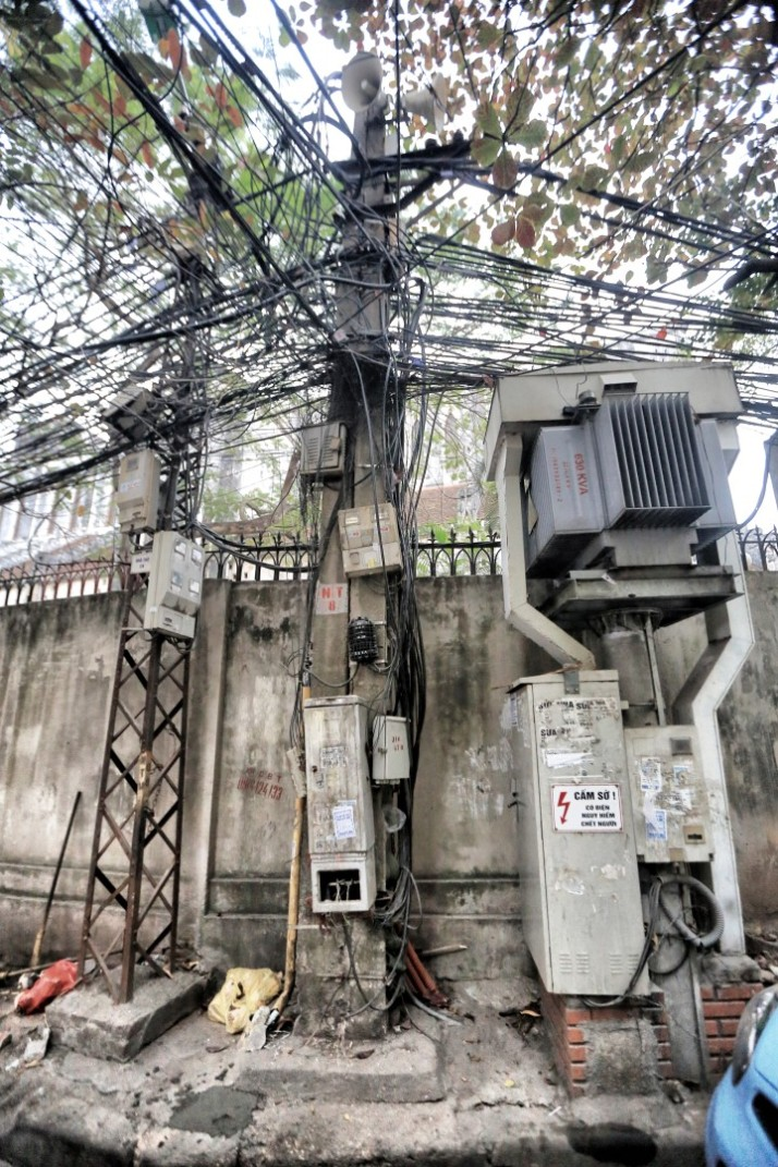 This is what the telephone poles look like in Hanoi