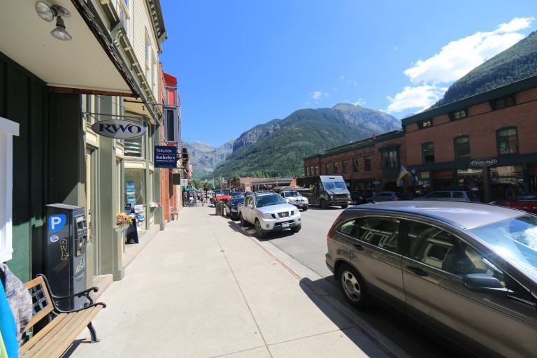 Telluride town - right nestled in a canyon with views galore.