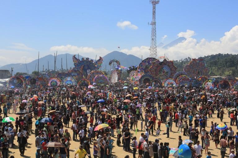 The full scene - The kites on display prior to flight
