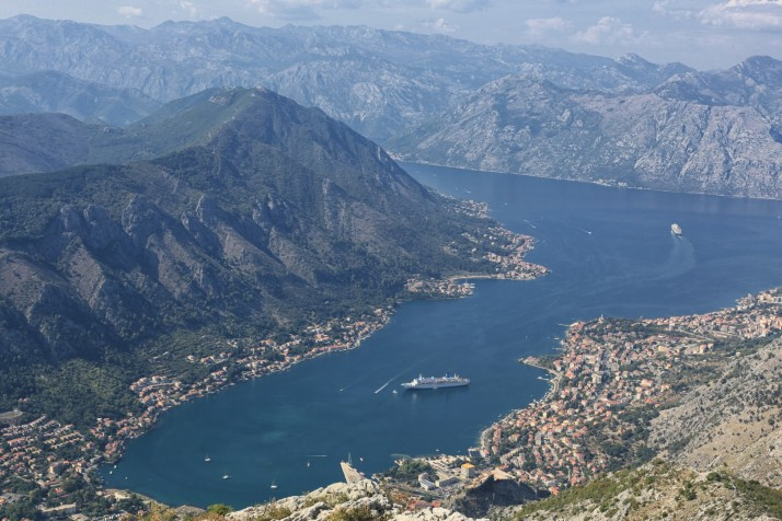 The view of Kotor Bay driving to Locen National Park